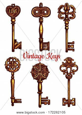 Vintage and old keys vector icons sketch. Set of metal brass or bronze lock key symbols with antique or medieval ornate bow and wards. Lever-type heraldic keys for coat of arms or heraldry shield