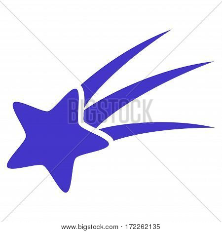 Falling Star flat icon. Vector violet symbol. Pictograph is isolated on a white background. Trendy flat style illustration for web site design logo ads apps user interface.