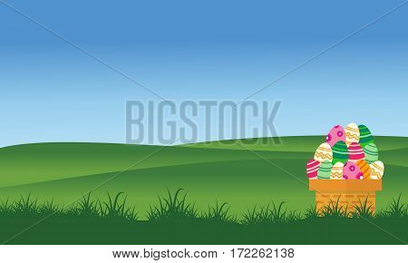 On the hill easter egg collection stock vector art