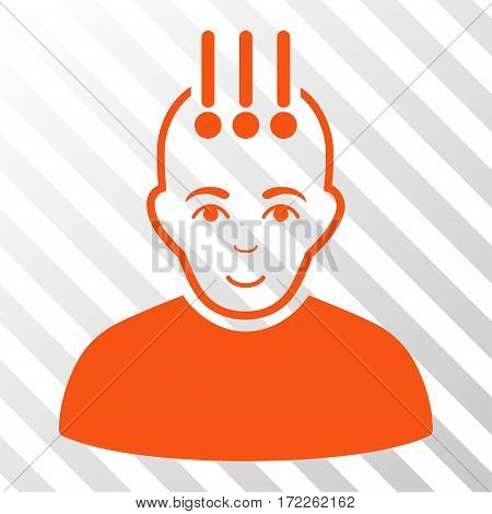 Orange Neural Interface interface toolbar pictogram. Vector pictograph style is a flat symbol on diagonal hatch transparent background.