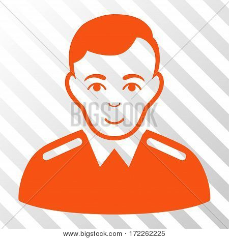 Orange Officer toolbar icon. Vector pictograph style is a flat symbol on diagonally hatched transparent background.