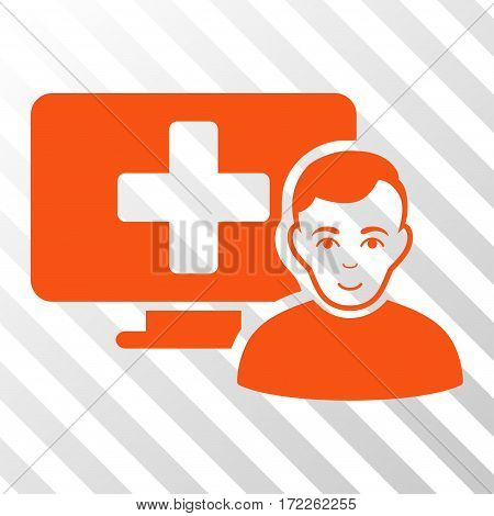 Orange Online Medicine toolbar icon. Vector pictogram style is a flat symbol on diagonal hatch transparent background.
