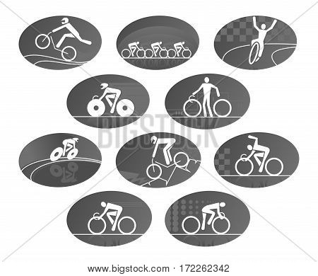 Cycling vector icons of bicycling sport. Bicycles or bikes with bicyclists team, winner, wheelman or bicycler on finish. Isolated iconsfor mountain and off-road biking, downhill or freeride racing