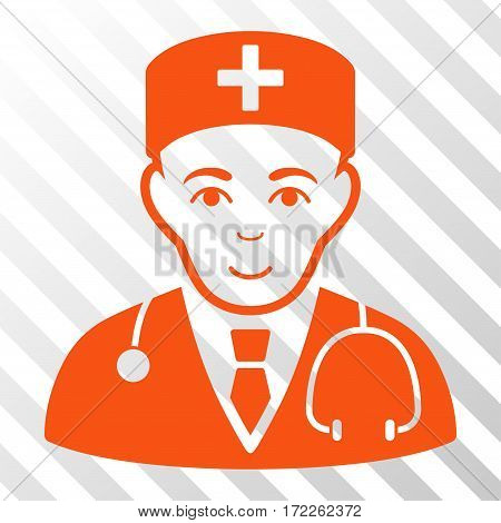 Orange Physician interface icon. Vector pictogram style is a flat symbol on diagonally hatched transparent background.