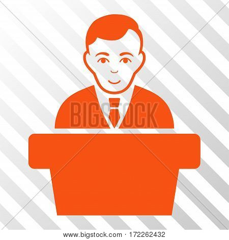 Orange Politician interface pictogram. Vector pictograph style is a flat symbol on diagonal hatch transparent background.