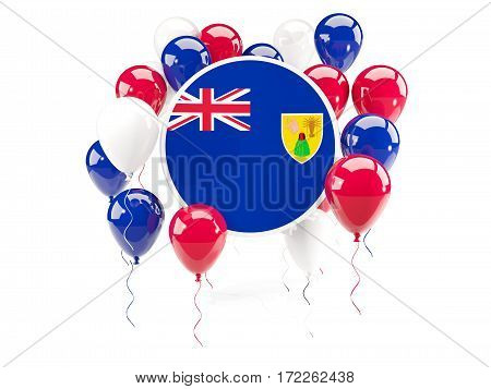 Round Flag Of Turks And Caicos Islands With Balloons
