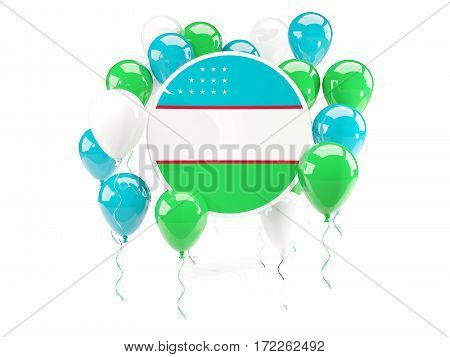 Round Flag Of Uzbekistan With Balloons
