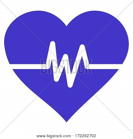 Heart Pulse flat icon. Vector violet symbol. Pictogram is isolated on a white background. Trendy flat style illustration for web site design logo ads apps user interface.