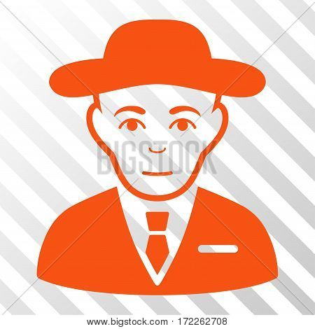Orange Secret Service Agent interface pictogram. Vector pictogram style is a flat symbol on diagonally hatched transparent background.