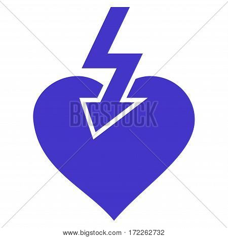 Heart Shock Strike flat icon. Vector violet symbol. Pictogram is isolated on a white background. Trendy flat style illustration for web site design logo ads apps user interface.