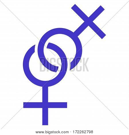 Lesbian Love Symbol flat icon. Vector violet symbol. Pictograph is isolated on a white background. Trendy flat style illustration for web site design logo ads apps user interface.