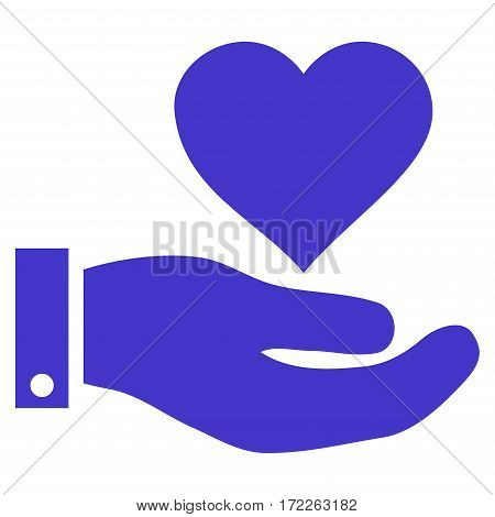 Love Heart Offer Hand flat icon. Vector violet symbol. Pictogram is isolated on a white background. Trendy flat style illustration for web site design logo ads apps user interface.