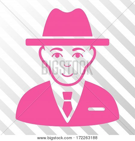 Pink Agent toolbar icon. Vector pictograph style is a flat symbol on diagonally hatched transparent background.