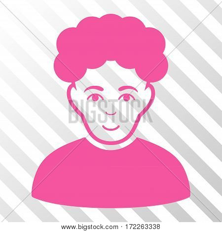 Pink Brunet Man interface toolbar pictogram. Vector pictograph style is a flat symbol on diagonal hatch transparent background.