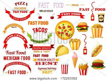 Fast Food vector icons of cheeseburger burger and pizza, french fries and hot dog, hamburger, tacos, chicken nuggets and onion rings, ice cream, popcorn and coffee. Ribbon emblems set for design