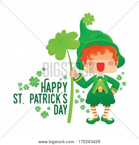 Vector Illustration of St. Patrick's Day Happy Leprechaun with Four Leaf Shamrock. Lucky Clover. for Greeting Card.