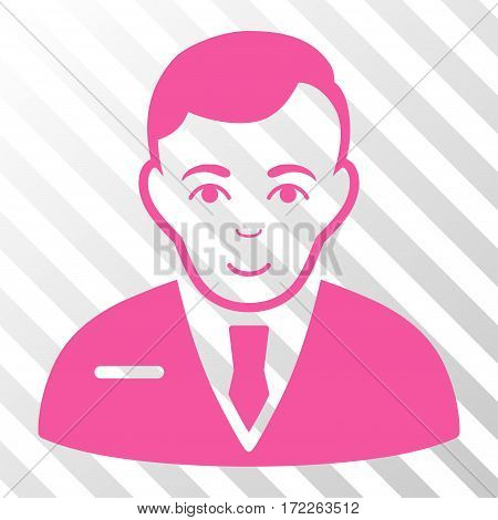 Pink Businessman interface icon. Vector pictograph style is a flat symbol on diagonal hatch transparent background.