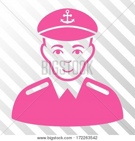 Pink Captain interface pictogram. Vector pictogram style is a flat symbol on diagonally hatched transparent background.