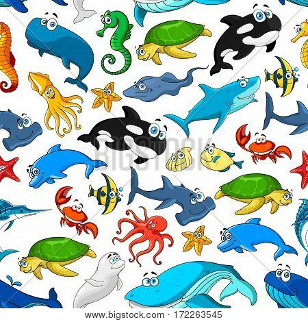 Cartoon seamless vector pattern of sea animals of starfish or shell mollusk and seahorse, stingray and turtle, crab and octopus, squid and jellyfish, dolphin, whale and shark, seal and clown fish