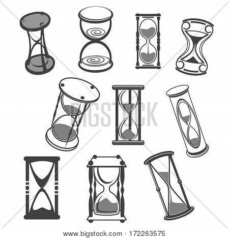 Hourglass or sandglass vector icons. Set of isolated sand watch and sand clock in three-legged stand, antique and vintage old sand timer symbols or time measure tool for internet and web design