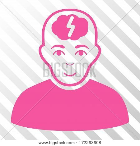Pink Clever Boy interface pictogram. Vector pictograph style is a flat symbol on diagonally hatched transparent background.