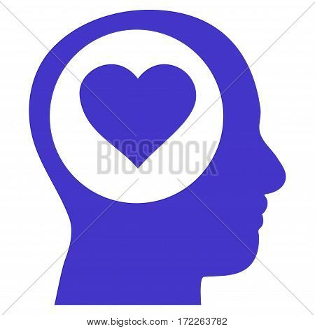 Love Thinking Head flat icon. Vector violet symbol. Pictogram is isolated on a white background. Trendy flat style illustration for web site design logo ads apps user interface.