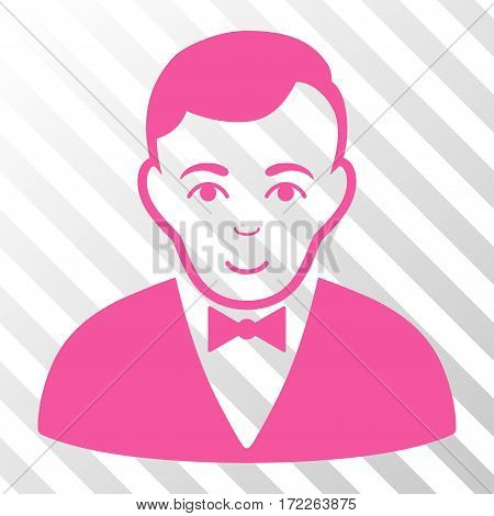 Pink Dealer interface pictogram. Vector pictograph style is a flat symbol on diagonally hatched transparent background.