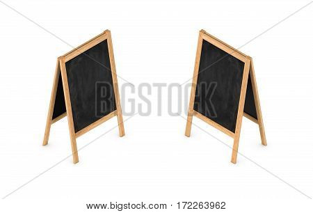 3d rendering of a blank easel chalkboard in double-sided isometric view. Studying and education. Signs and advertisements. Business promotion.