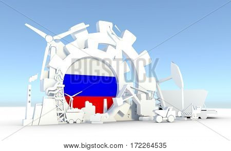 Energy and Power icons set with Russia flag. Sustainable energy generation and heavy industry. 3D rendering.