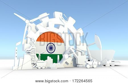 Energy and Power icons set with India flag. Sustainable energy generation and heavy industry. 3D rendering.