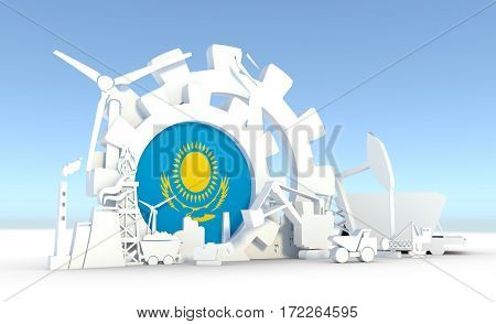 Energy and Power icons set with Kazakhstan flag. Sustainable energy generation and heavy industry. 3D rendering.