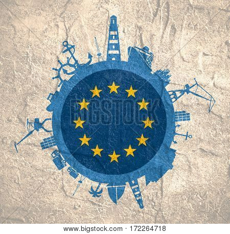 Circle with sea shipping and travel relative silhouettes. Concrete texture. Objects located around the circle. Industrial design background. Europe flag in the center.