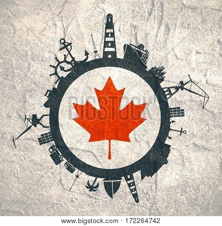 Circle with sea shipping and travel relative silhouettes. Concrete texture. Objects located around the circle. Industrial design background. Canada flag in the center.