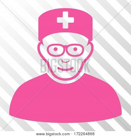 Pink Medical Specialist toolbar icon. Vector pictogram style is a flat symbol on diagonal hatch transparent background.