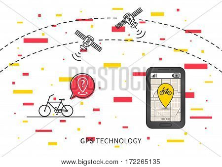 Bike GPS search vector illustration with decorative elements. Navigation technology for bike or bicycle creative concept. GPS satellites help to find bike graphic design.