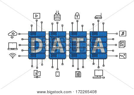 Data center vector illustration. Internet server equipment line art creative concept. Hosting cloud datacenter hardware graphic design. Network database infrastructure system.