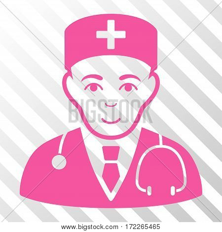 Pink Physician toolbar pictogram. Vector pictogram style is a flat symbol on diagonally hatched transparent background.