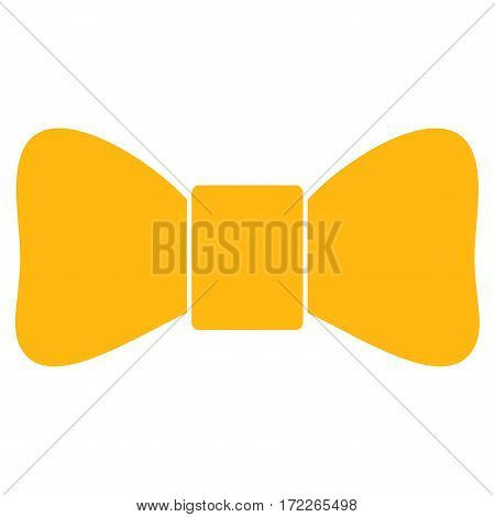 Bow Tie flat icon. Vector yellow symbol. Pictogram is isolated on a white background. Trendy flat style illustration for web site design logo ads apps user interface.