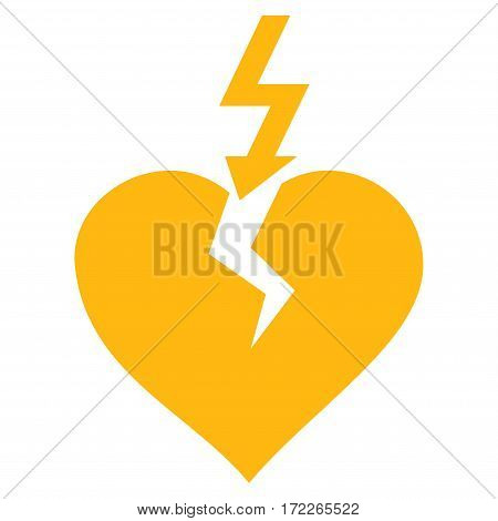 Break Heart flat icon. Vector yellow symbol. Pictograph is isolated on a white background. Trendy flat style illustration for web site design logo ads apps user interface.