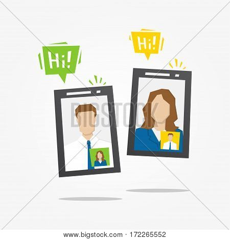 Online video call vector illustration. Wireless communication with mobile phones creative concept. Video chat via internet technology graphic design.