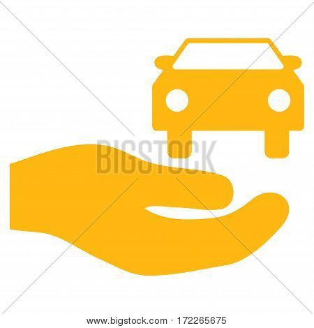 Car Gift Hand flat icon. Vector yellow symbol. Pictogram is isolated on a white background. Trendy flat style illustration for web site design logo ads apps user interface.