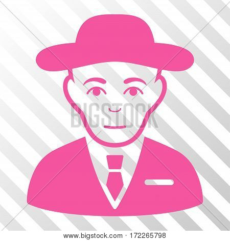 Pink Secret Service Agent interface toolbar icon. Vector pictograph style is a flat symbol on diagonally hatched transparent background.