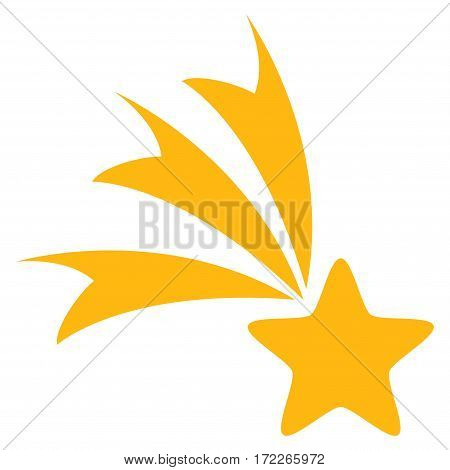 Falling Star flat icon. Vector yellow symbol. Pictogram is isolated on a white background. Trendy flat style illustration for web site design logo ads apps user interface.