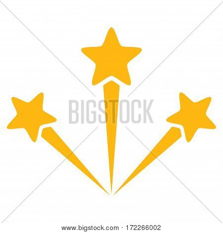 Festive Fireworks flat icon. Vector yellow symbol. Pictograph is isolated on a white background. Trendy flat style illustration for web site design logo ads apps user interface.