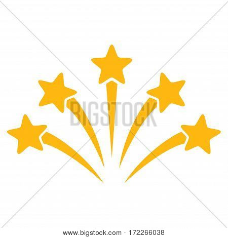 Fireworks Burst flat icon. Vector yellow symbol. Pictograph is isolated on a white background. Trendy flat style illustration for web site design logo ads apps user interface.