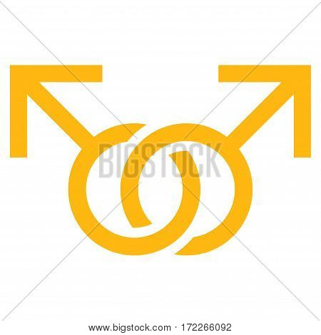 Gay Love Symbol flat icon. Vector yellow symbol. Pictogram is isolated on a white background. Trendy flat style illustration for web site design logo ads apps user interface.