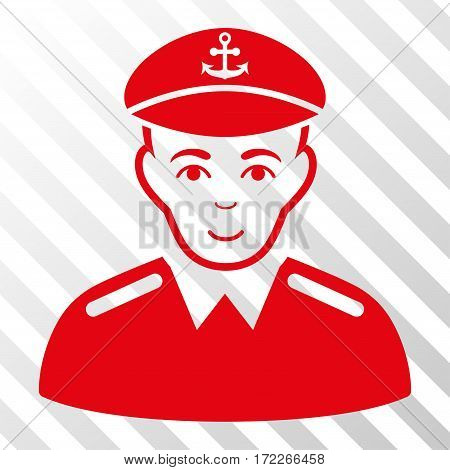 Red Captain interface pictogram. Vector pictogram style is a flat symbol on diagonally hatched transparent background.