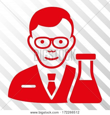 Red Chemist interface pictogram. Vector pictogram style is a flat symbol on diagonal hatch transparent background.