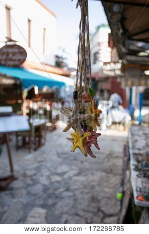 Pack Of Multicoloured Souvenire Starfishes Seastars Hanging