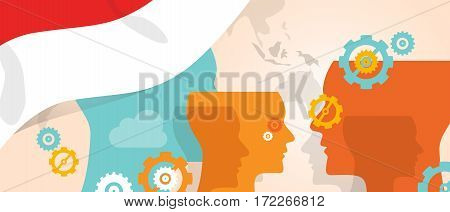 Indonesia concept of thinking growing innovation discuss country future brain storming under different view represented with heads gears and flag vector
